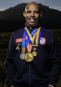 Meb Photo with Medals - High Resolution